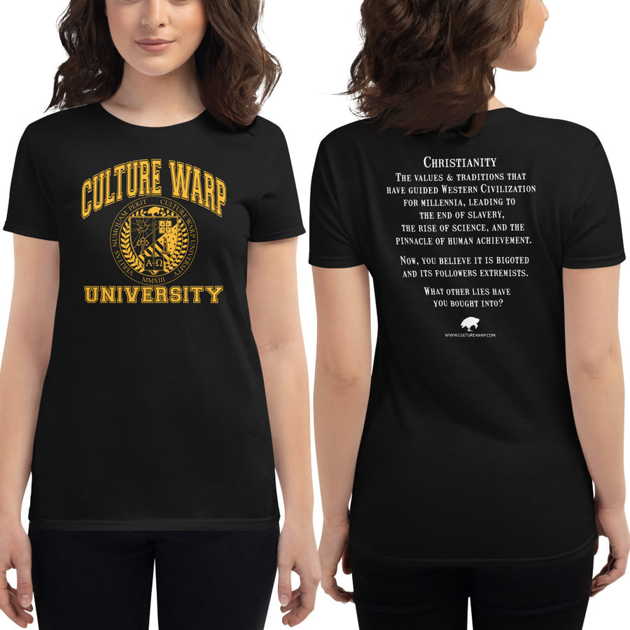 Black/Gold Culture Warp Christian T-Shirt. The shirt style is Women's Fashion T-Shirt , size S. The design is Traditions & Values - CWU Collection.