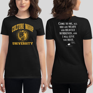 Black/Gold Culture Warp Christian T-Shirt. The shirt style is Women's Fashion T-Shirt , size S. The design is Come to Me - CWU Collection.