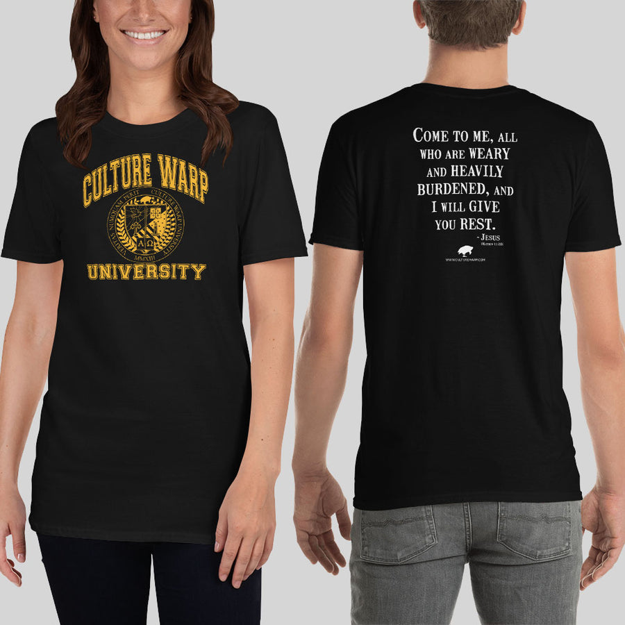 Black/Gold Culture Warp Christian T-Shirt. The shirt style is Classic Unisex T-Shirt , size S. The design is Come to Me - CWU Collection.