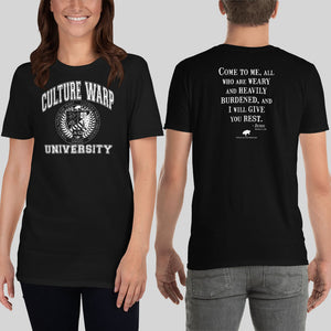 Black/White Culture Warp Christian T-Shirt. The shirt style is Classic Unisex T-Shirt , size S. The design is Come to Me - CWU Collection.