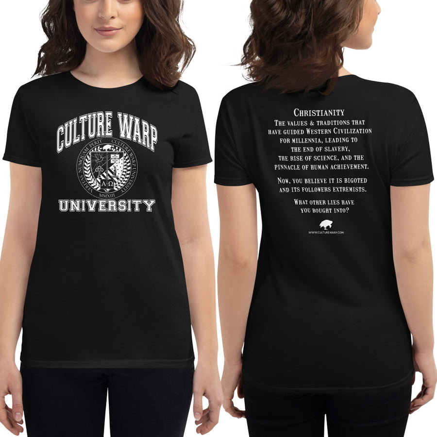 Black/White Culture Warp Christian T-Shirt. The shirt style is Women's Fashion T-Shirt , size S. The design is Traditions & Values - CWU Collection.