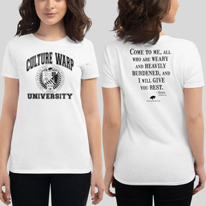 White/Black Culture Warp Christian T-Shirt. The shirt style is Women's Fashion T-Shirt , size S. The design is Come to Me - CWU Collection.