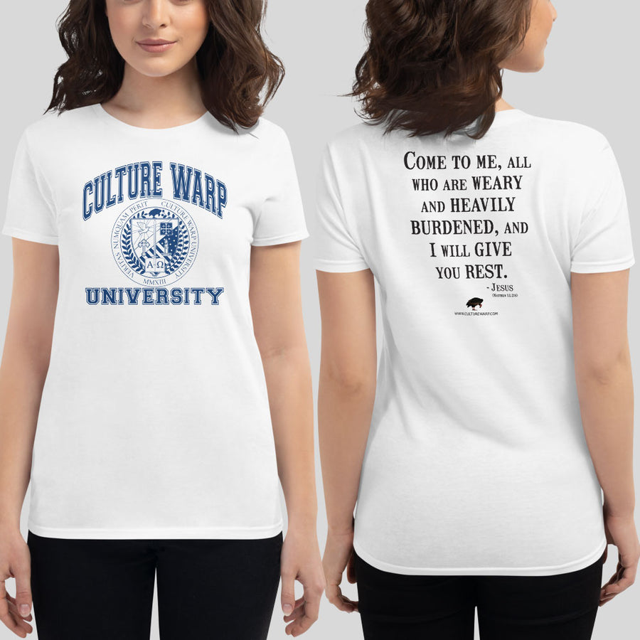 White/Navy Culture Warp Christian T-Shirt. The shirt style is Women's Fashion T-Shirt , size S. The design is Come to Me - CWU Collection.