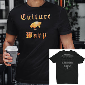 Black Culture Warp Christian T-Shirt. The shirt style is Men's Fashion T-Shirt , size S. The design is Traditions & Values - Inferno Collection.