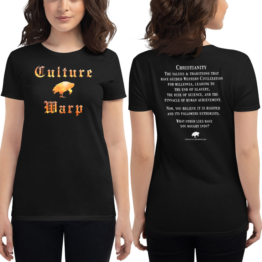Black Culture Warp Christian T-Shirt. The shirt style is Women's Fashion T-Shirt , size S. The design is Traditions & Values - Inferno Collection.