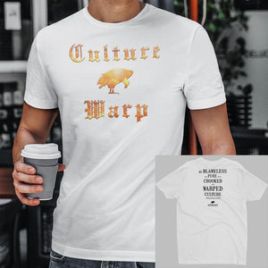 White Culture Warp Christian T-Shirt. The shirt style is Men's Fashion T-Shirt , size S. The design is Blameless and Pure - Inferno Collection.