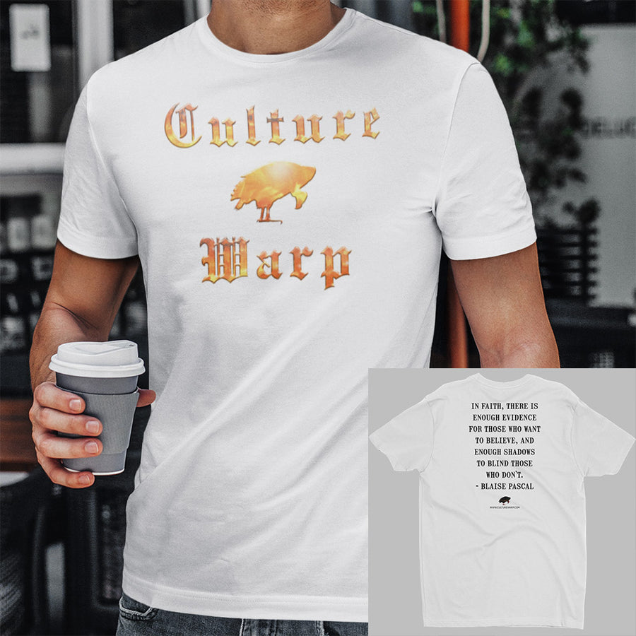 White Culture Warp Christian T-Shirt. The shirt style is Men's Fashion T-Shirt , size S. The design is Enough Evidence for Those Who Want to Believe - Inferno Collection.
