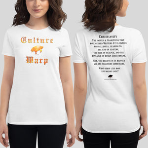 White Culture Warp Christian T-Shirt. The shirt style is Women's Fashion T-Shirt , size S. The design is Traditions & Values - Inferno Collection.