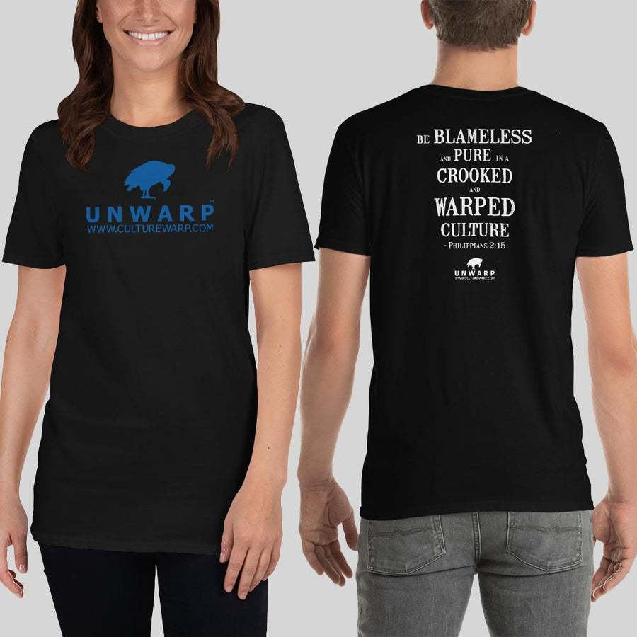 Black/Blue Culture Warp Christian T-Shirt. The shirt style is Classic Unisex T-Shirt , size S. The design is Blameless and Pure - UNWARP Collection Collection.