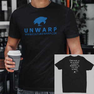 Black/Blue Culture Warp Christian T-Shirt. The shirt style is Men's Fashion T-Shirt , size S. The design is Come to Me - UNWARP Collection Collection.