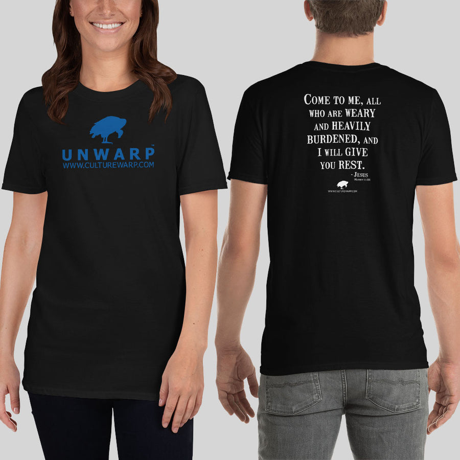 Black/Blue Culture Warp Christian T-Shirt. The shirt style is Classic Unisex T-Shirt , size S. The design is Come to Me - UNWARP Collection Collection.