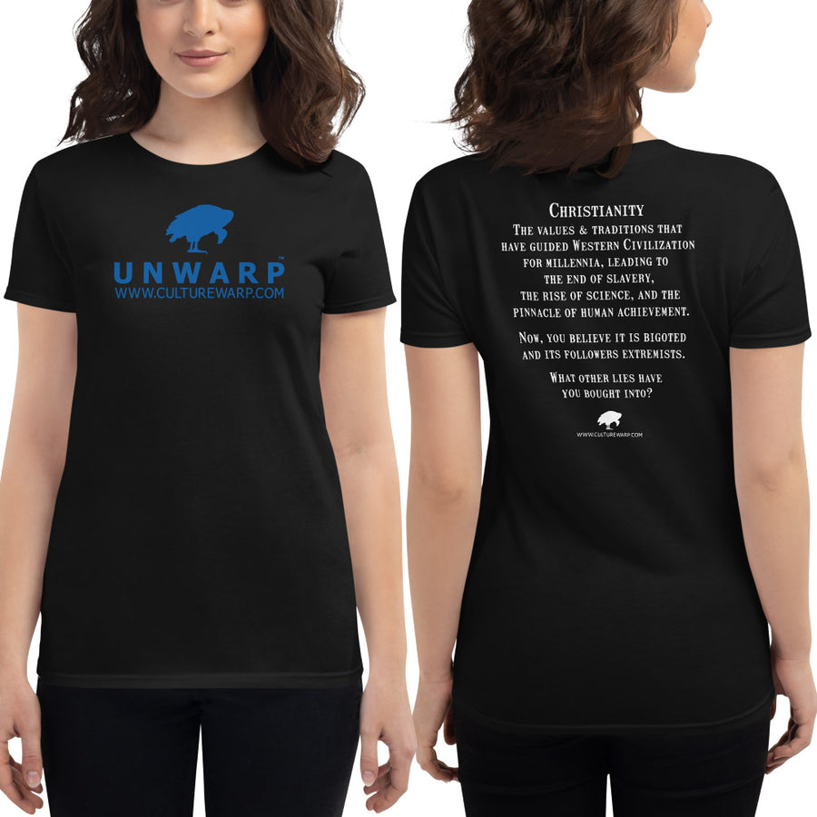 Black/Blue Culture Warp Christian T-Shirt. The shirt style is Women's Fashion T-Shirt , size S. The design is Traditions & Values - UNWARP Collection Collection.