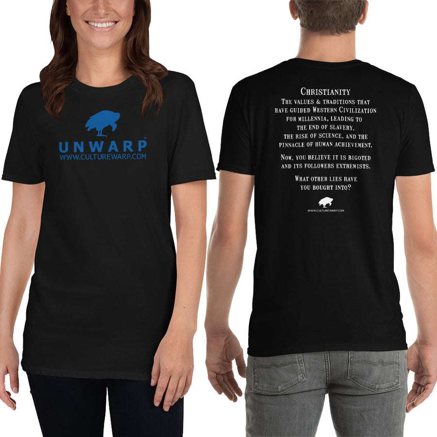 Black/Blue Culture Warp Christian T-Shirt. The shirt style is Classic Unisex T-Shirt , size S. The design is Traditions & Values - UNWARP Collection Collection.