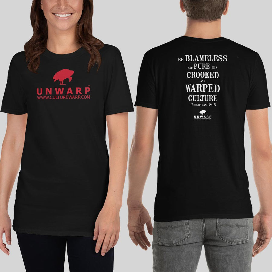 Black/Red Culture Warp Christian T-Shirt. The shirt style is Classic Unisex T-Shirt , size S. The design is Blameless and Pure - UNWARP Collection Collection.
