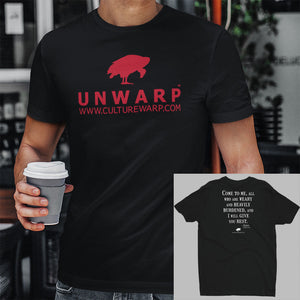 Black/Red Culture Warp Christian T-Shirt. The shirt style is Men's Fashion T-Shirt , size S. The design is Come to Me - UNWARP Collection Collection.