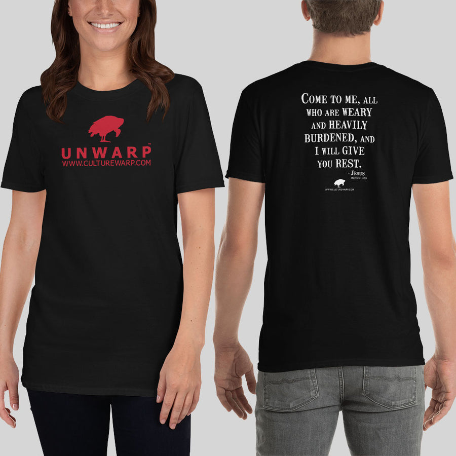 Black/Red Culture Warp Christian T-Shirt. The shirt style is Classic Unisex T-Shirt , size S. The design is Come to Me - UNWARP Collection Collection.