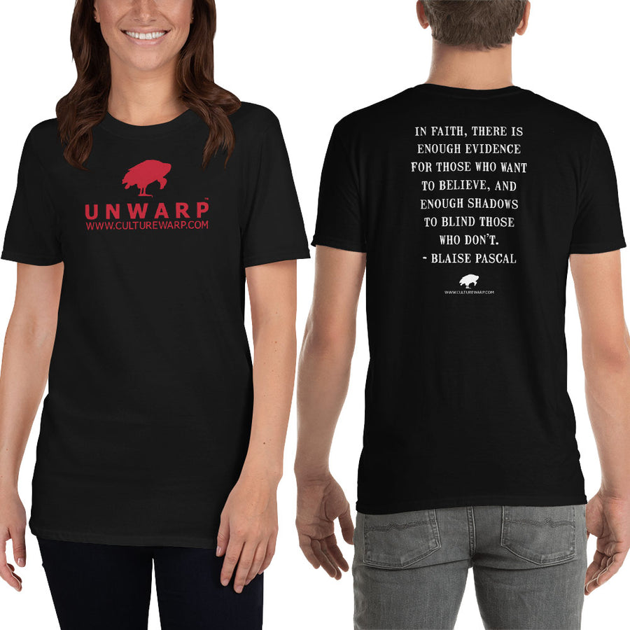 Black/Red Culture Warp Christian T-Shirt. The shirt style is Classic Unisex T-Shirt , size S. The design is Enough Evidence for Those Who Want to Believe - UNWARP Collection Collection.