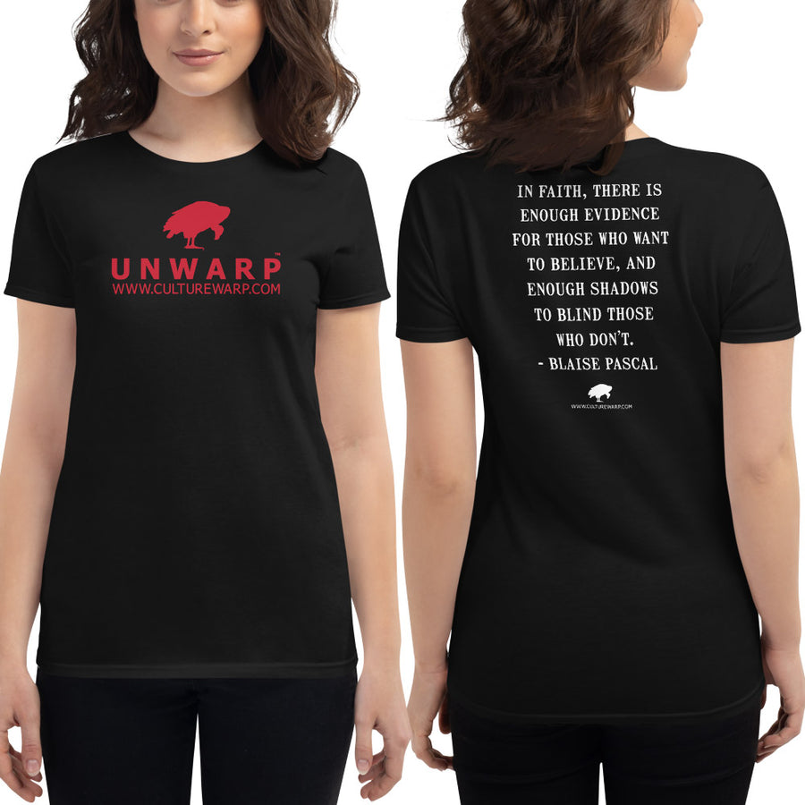 Black/Red Culture Warp Christian T-Shirt. The shirt style is Women's Fashion T-Shirt , size S. The design is Enough Evidence for Those Who Want to Believe - UNWARP Collection Collection.
