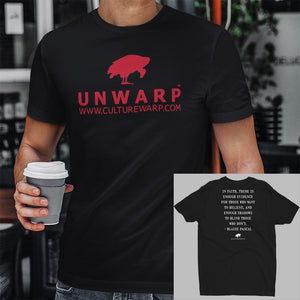 Black/Red Culture Warp Christian T-Shirt. The shirt style is Men's Fashion T-Shirt , size S. The design is Enough Evidence for Those Who Want to Believe - UNWARP Collection Collection.