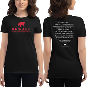 Black/Red Culture Warp Christian T-Shirt. The shirt style is Women's Fashion T-Shirt , size S. The design is Traditions & Values - UNWARP Collection Collection.