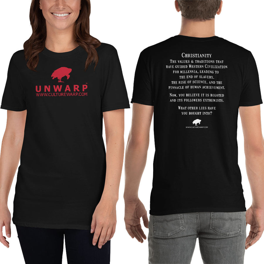 Black/Red Culture Warp Christian T-Shirt. The shirt style is Classic Unisex T-Shirt , size S. The design is Traditions & Values - UNWARP Collection Collection.