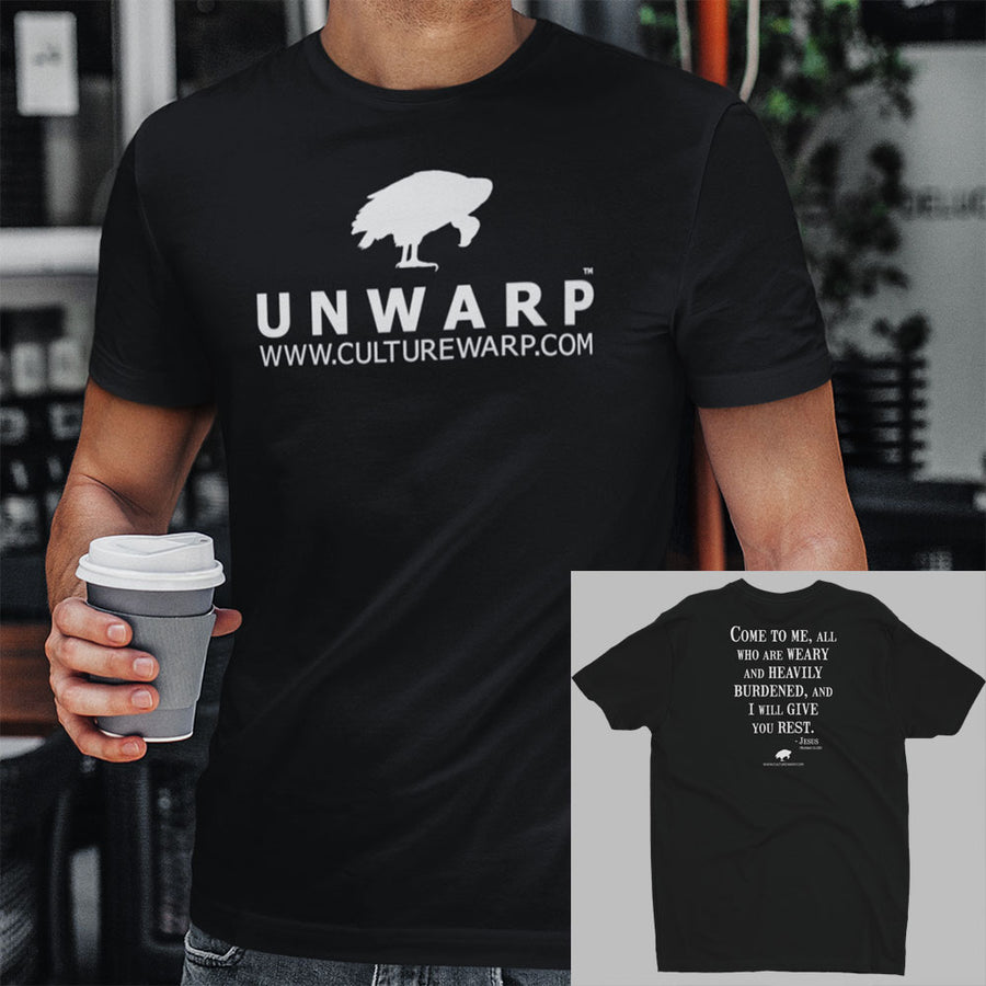 Black/White Culture Warp Christian T-Shirt. The shirt style is Men's Fashion T-Shirt , size S. The design is Come to Me - UNWARP Collection Collection.