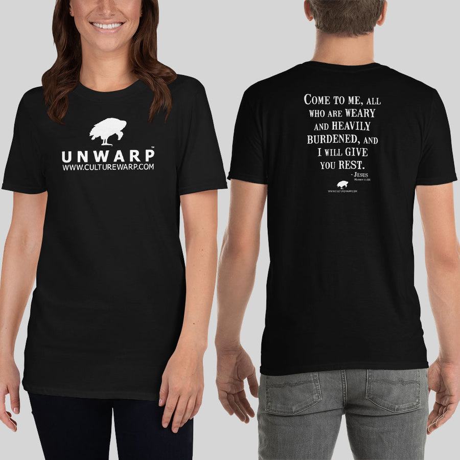 Black/White Culture Warp Christian T-Shirt. The shirt style is Classic Unisex T-Shirt , size S. The design is Come to Me - UNWARP Collection Collection.