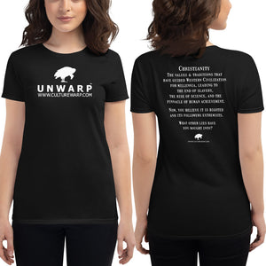 Black/White Culture Warp Christian T-Shirt. The shirt style is Women's Fashion T-Shirt , size S. The design is Traditions & Values - UNWARP Collection Collection.