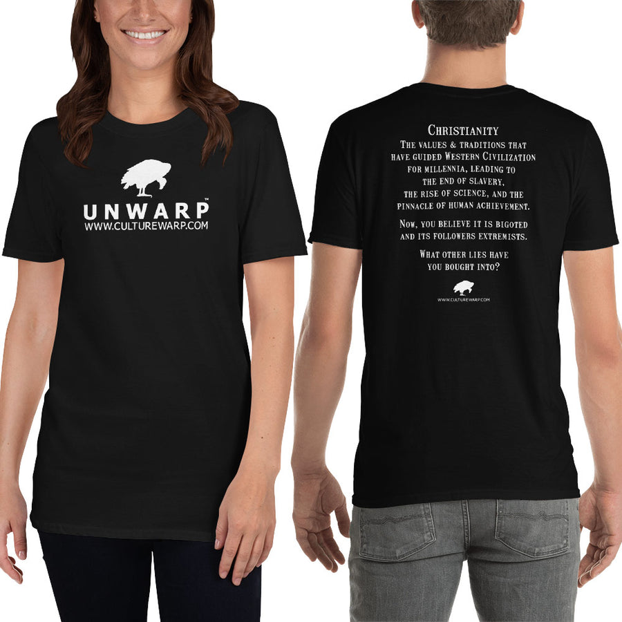 Black/White Culture Warp Christian T-Shirt. The shirt style is Classic Unisex T-Shirt , size S. The design is Traditions & Values - UNWARP Collection Collection.