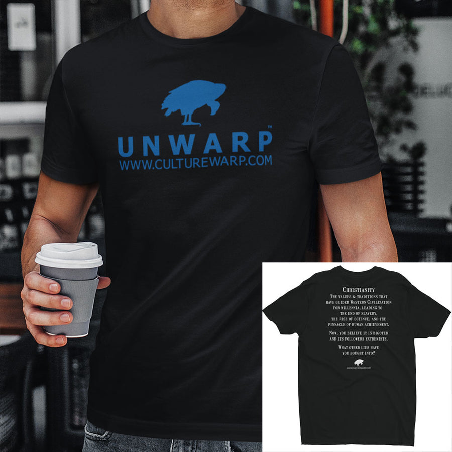 Black/Blue Culture Warp Christian T-Shirt. The shirt style is Men's Fashion T-Shirt , size S. The design is Traditions & Values - UNWARP Collection Collection.