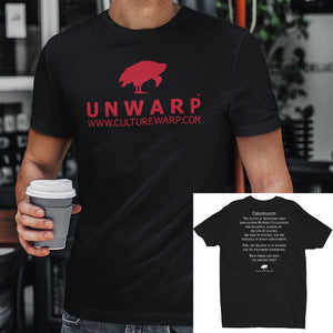Black/Red Culture Warp Christian T-Shirt. The shirt style is Men's Fashion T-Shirt , size S. The design is Traditions & Values - UNWARP Collection Collection.