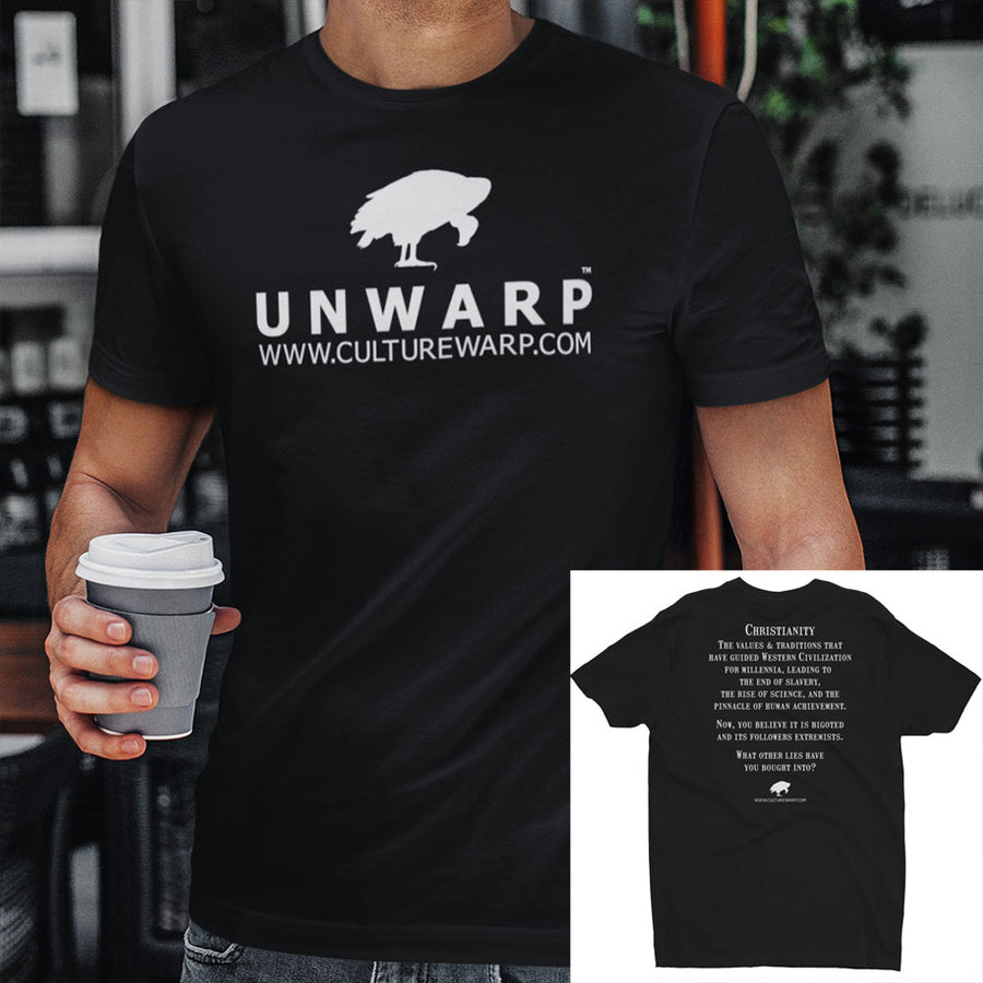 Black/White Culture Warp Christian T-Shirt. The shirt style is Men's Fashion T-Shirt , size S. The design is Traditions & Values - UNWARP Collection Collection.