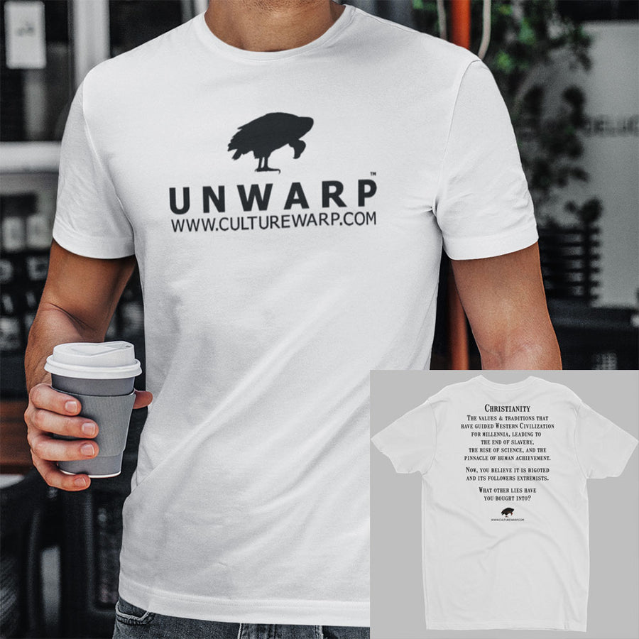 White/Black Culture Warp Christian T-Shirt. The shirt style is Men's Fashion T-Shirt , size S. The design is Traditions & Values - UNWARP Collection Collection.