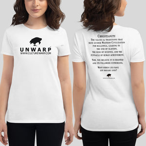 White/Black Culture Warp Christian T-Shirt. The shirt style is Women's Fashion T-Shirt , size S. The design is Traditions & Values - UNWARP Collection Collection.