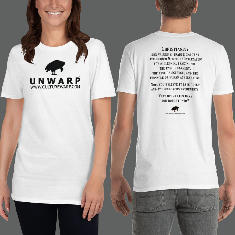 White/Black Culture Warp Christian T-Shirt. The shirt style is Classic Unisex T-Shirt , size S. The design is Traditions & Values - UNWARP Collection Collection.