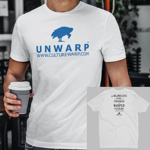 White/Blue Culture Warp Christian T-Shirt. The shirt style is Men's Fashion T-Shirt , size S. The design is Blameless and Pure - UNWARP Collection Collection.