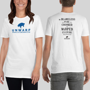 White/Blue Culture Warp Christian T-Shirt. The shirt style is Classic Unisex T-Shirt , size S. The design is Blameless and Pure - UNWARP Collection Collection.