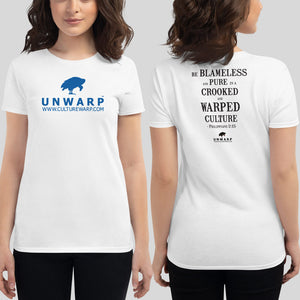 White/Blue Culture Warp Christian T-Shirt. The shirt style is Women's Fashion T-Shirt , size S. The design is Blameless and Pure - UNWARP Collection Collection.