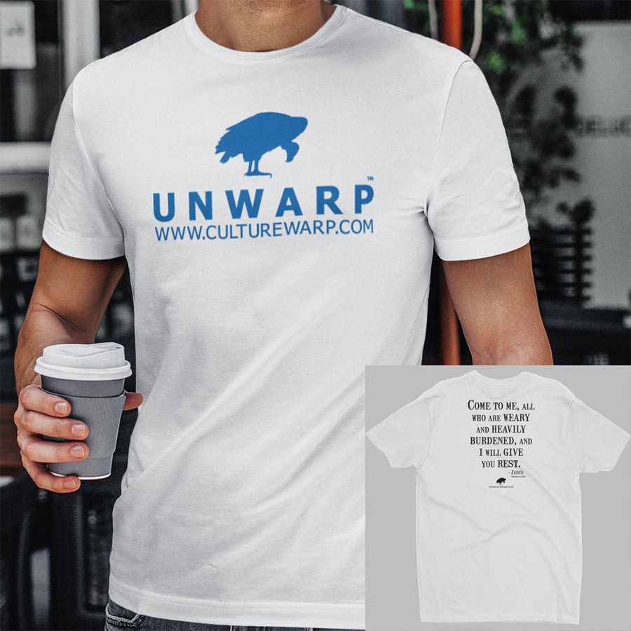 White/Blue Culture Warp Christian T-Shirt. The shirt style is Men's Fashion T-Shirt , size S. The design is Come to Me - UNWARP Collection Collection.