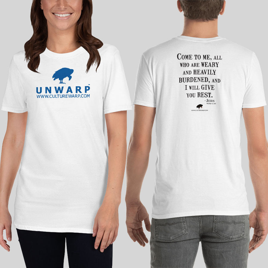 White/Blue Culture Warp Christian T-Shirt. The shirt style is Classic Unisex T-Shirt , size S. The design is Come to Me - UNWARP Collection Collection.