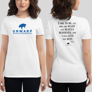 White/Blue Culture Warp Christian T-Shirt. The shirt style is Women's Fashion T-Shirt , size S. The design is Come to Me - UNWARP Collection Collection.