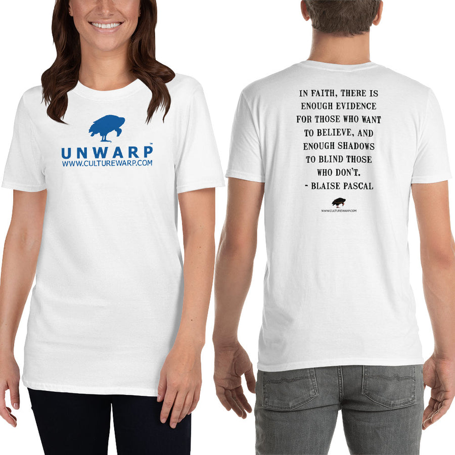 White/Blue Culture Warp Christian T-Shirt. The shirt style is Classic Unisex T-Shirt , size S. The design is Enough Evidence for Those Who Want to Believe - UNWARP Collection Collection.