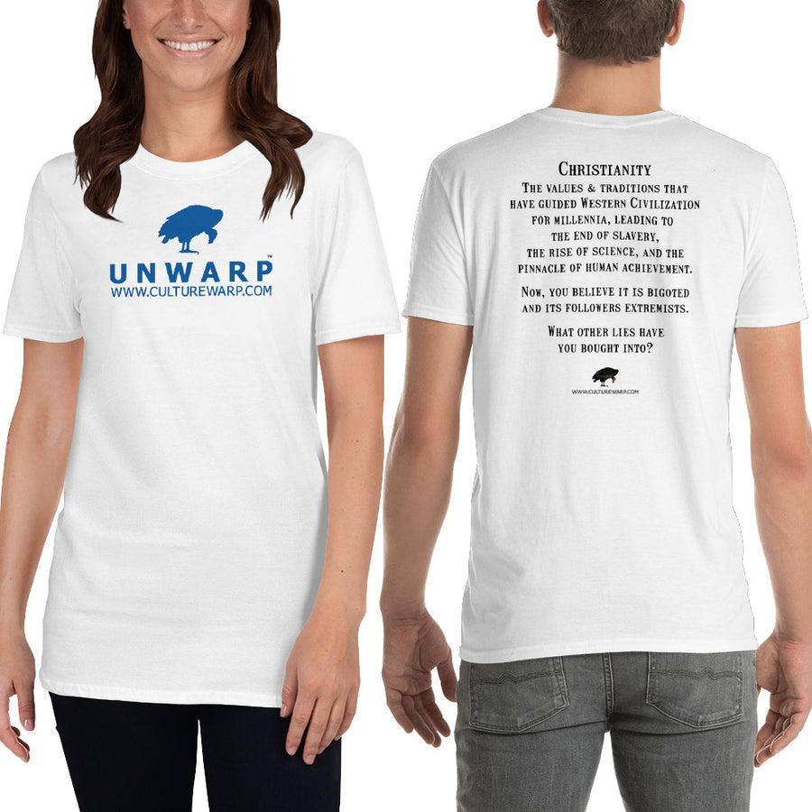 White/Blue Culture Warp Christian T-Shirt. The shirt style is Classic Unisex T-Shirt , size S. The design is Traditions & Values - UNWARP Collection Collection.