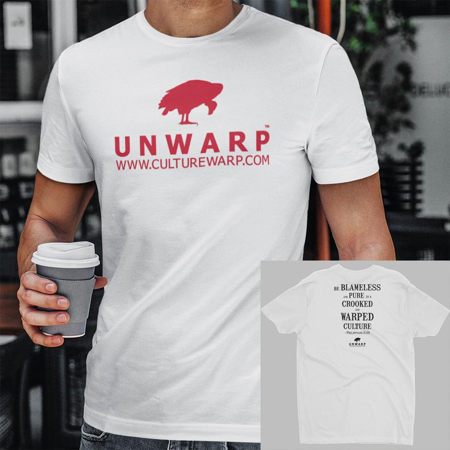 White/Red Culture Warp Christian T-Shirt. The shirt style is Men's Fashion T-Shirt , size S. The design is Blameless and Pure - UNWARP Collection Collection.