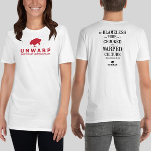 White/Red Culture Warp Christian T-Shirt. The shirt style is Classic Unisex T-Shirt , size S. The design is Blameless and Pure - UNWARP Collection Collection.