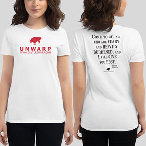 White/Red Culture Warp Christian T-Shirt. The shirt style is Women's Fashion T-Shirt , size S. The design is Come to Me - UNWARP Collection Collection.