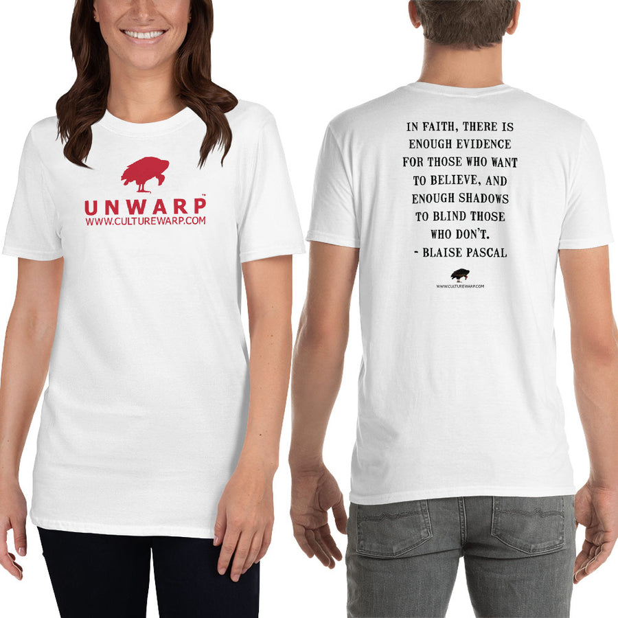 White/Red Culture Warp Christian T-Shirt. The shirt style is Classic Unisex T-Shirt , size S. The design is Enough Evidence for Those Who Want to Believe - UNWARP Collection Collection.