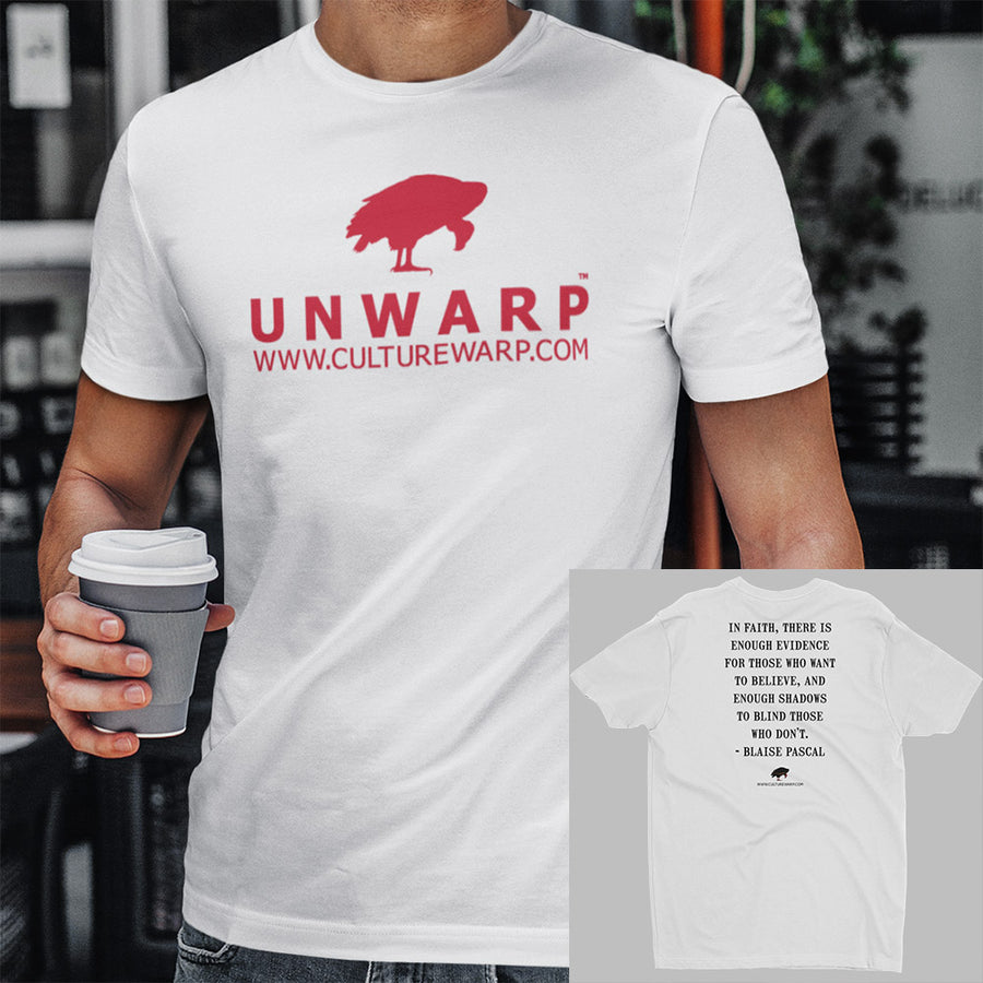 White/Red Culture Warp Christian T-Shirt. The shirt style is Men's Fashion T-Shirt , size S. The design is Enough Evidence for Those Who Want to Believe - UNWARP Collection Collection.