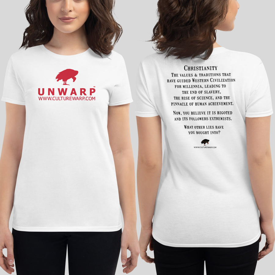 White/Red Culture Warp Christian T-Shirt. The shirt style is Women's Fashion T-Shirt , size S. The design is Traditions & Values - UNWARP Collection Collection.
