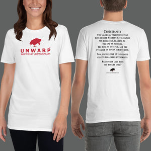 White/Red Culture Warp Christian T-Shirt. The shirt style is Classic Unisex T-Shirt , size S. The design is Traditions & Values - UNWARP Collection Collection.